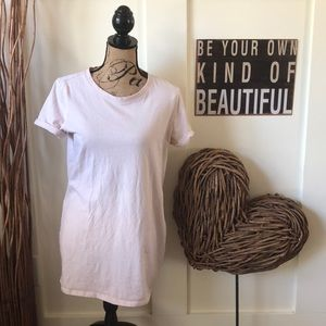 Forever 21 Rolled sleeve cream tunic tee